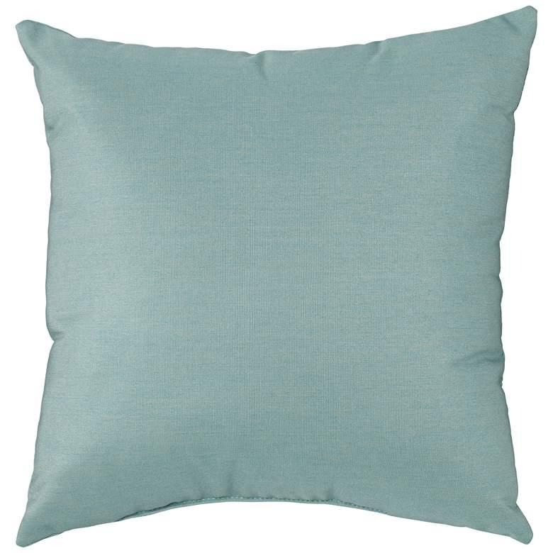 "Sunbrella Spa Blue Canvas 18"" Square Indoor-Outdoor Pillow"