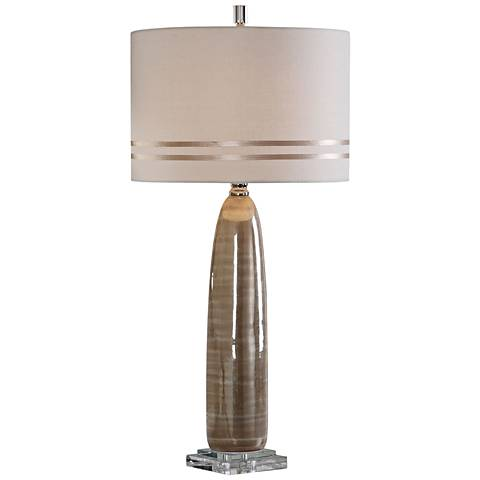 Uttermost Dima Pearlescent Glossy Brown Ceramic Table Lamp