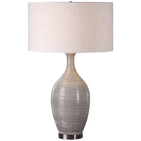 Uttermost Dinah Mushroom Gray Textured Ceramic Table Lamp