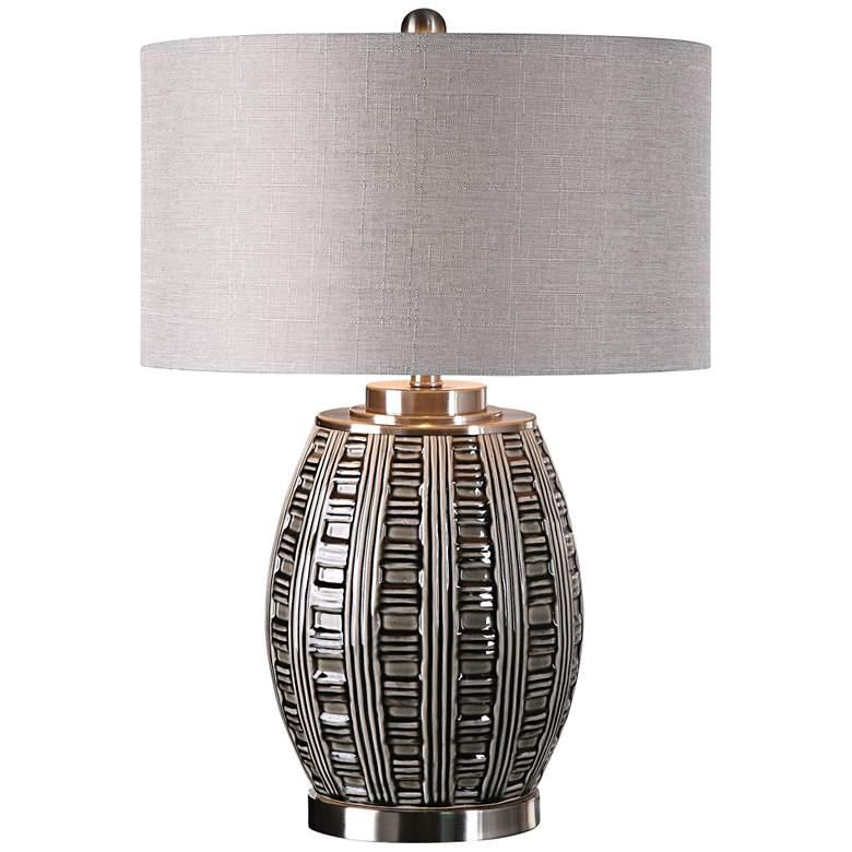 Uttermost Aura Smoke Gray and Ash Black Ceramic Table Lamp