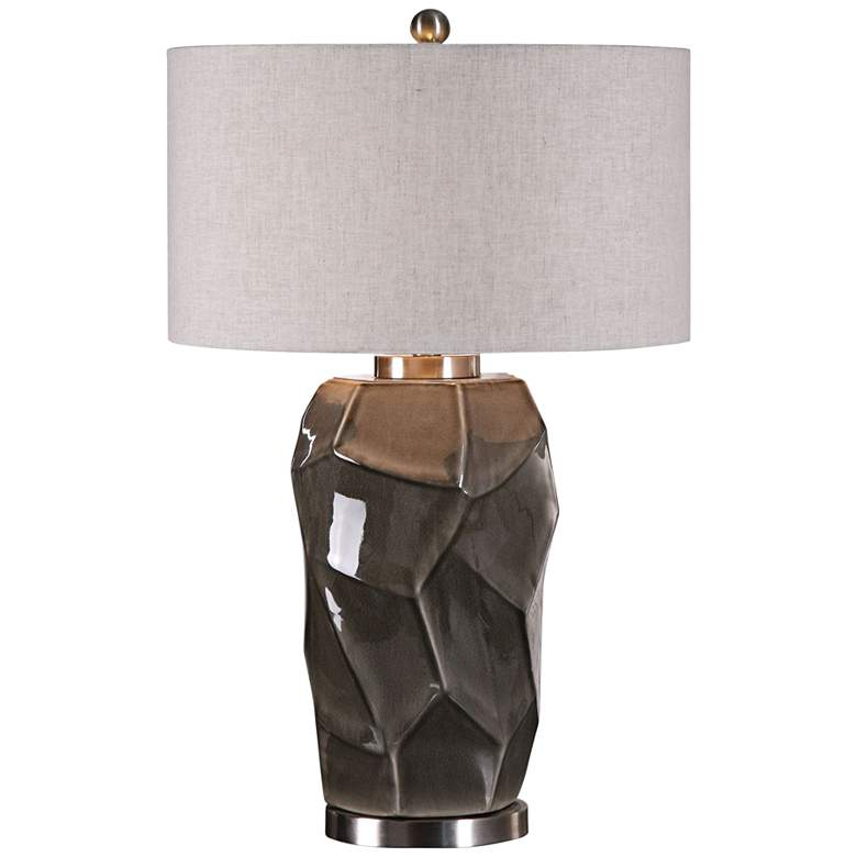 Uttermost Crayton Glossy Crackle Rock-Gray Table Lamp