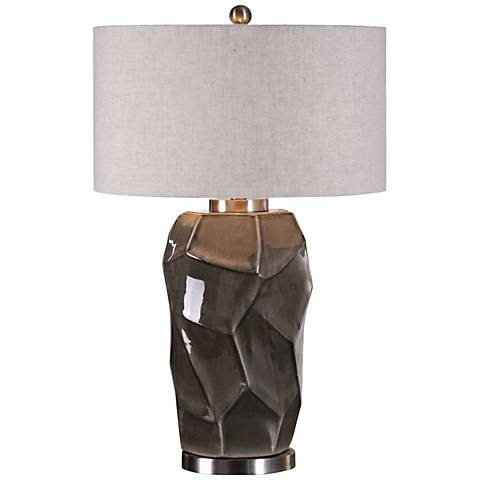 Uttermost Crayton Glossy Le Rock Gray Table Lamp