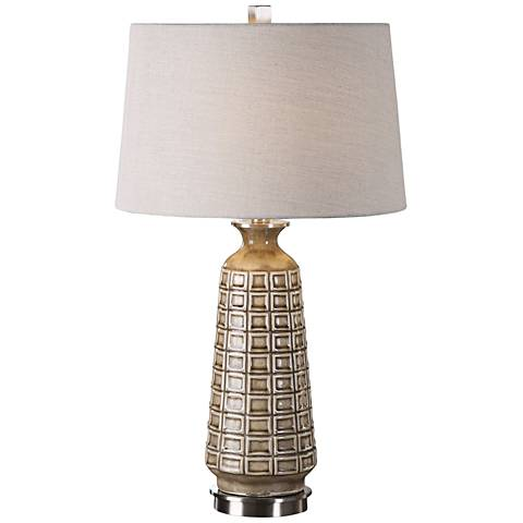 Uttermost Belser Embossed Mushroom Gray Ceramic Table Lamp