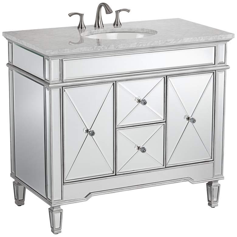 "White Carrara Marble 40"" Wide Mirrored Single Sink Vanity"