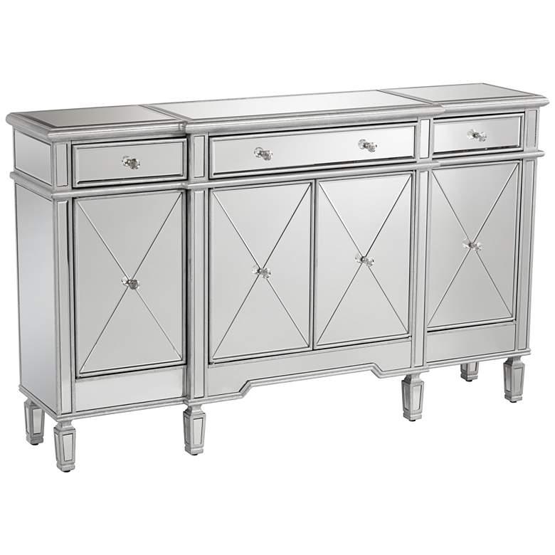 "Cablanca 60"" Wide 4-Door 3-Drawer Silver Mirrored Cabinet"