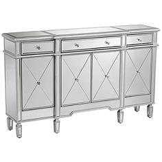 Cablanca 4-Door 3-Drawer Silver Accent Cabinet