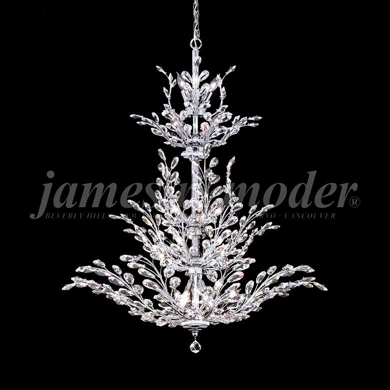 "James Moder Florale 38"" Wide Silver Entry Crystal"