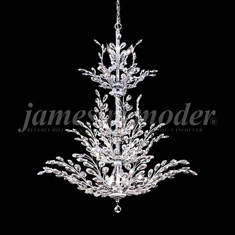 "James Moder Florale 38"" Wide Silver Entry Crystal Chandelier"