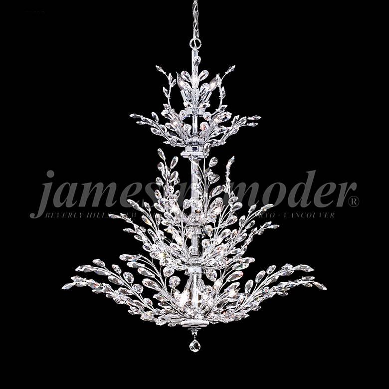 "James Moder Florale 38"" Wide Silver Entry Crystal Chandelier"