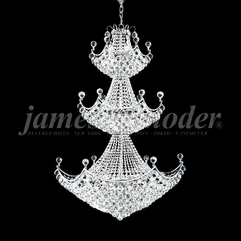 "James Moder Jacqueline 36""W Silver Entry Crystal Chandelier"