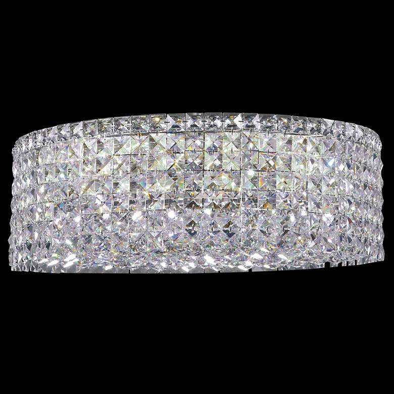 """Contemporary 20"""" Wide Silver Round Crystal Ceiling Light"""
