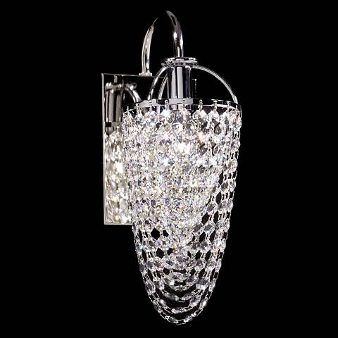 "Contemporary 12"" High Silver Crystal Basket Wall Sconce"