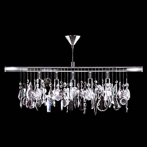 "Contemporary 38""W Silver 5-Light Crystal Island Chandelier"