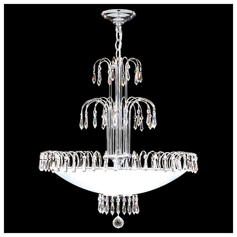 """James Moder Contemporary 22"""" Wide Silver Crystal Chandelier"""