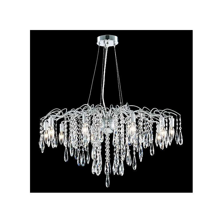 """James Moder Contemporary 31"""" Wide Silver Crystal Chandelier"""