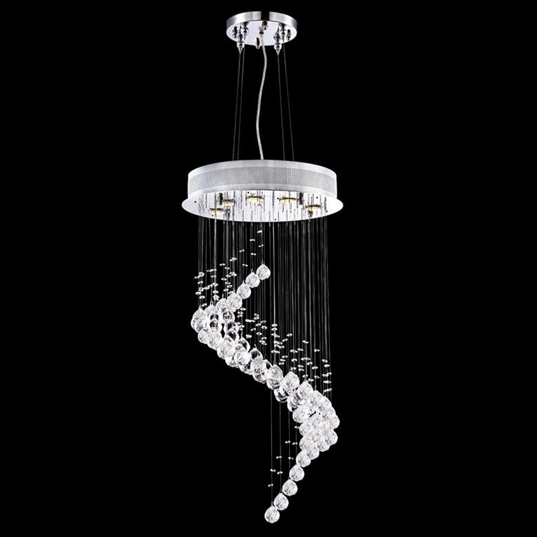 "James Moder Crystal Rain 17"" Wide Silver 5-Light Pendant"