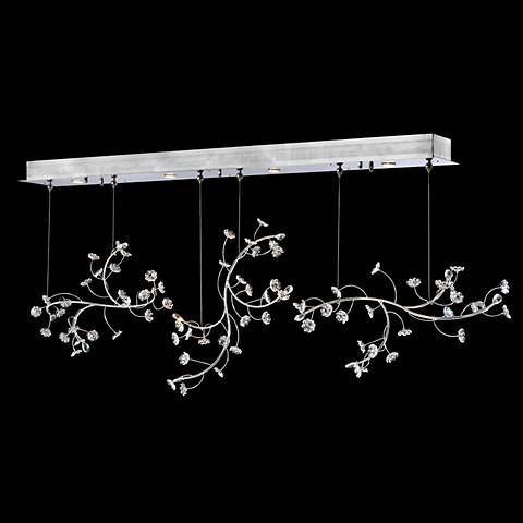 "Crystal Rain 83"" Wide Silver 4-Light Island Chandelier"