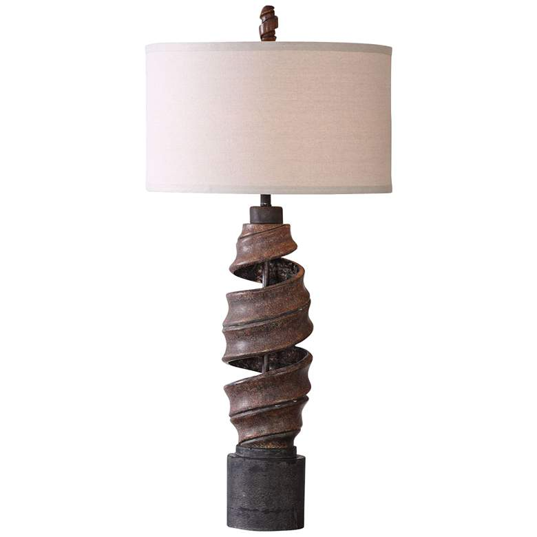 Uttermost Abrose Aged Rust Natural Twist Concrete Table Lamp