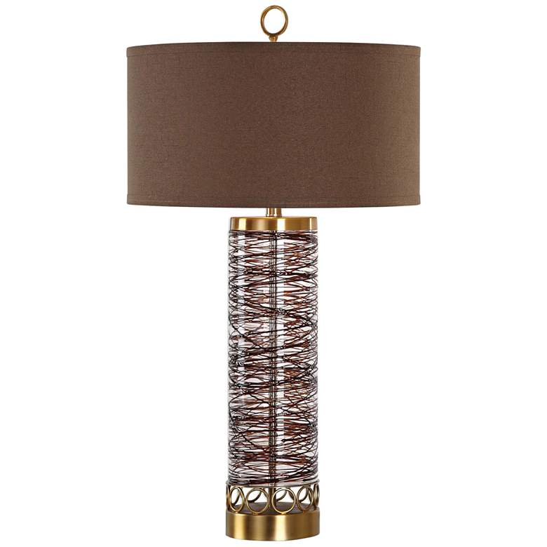 Uttermost Seaver Chocolate Bronze Sugar-Spun Glass Table Lamp