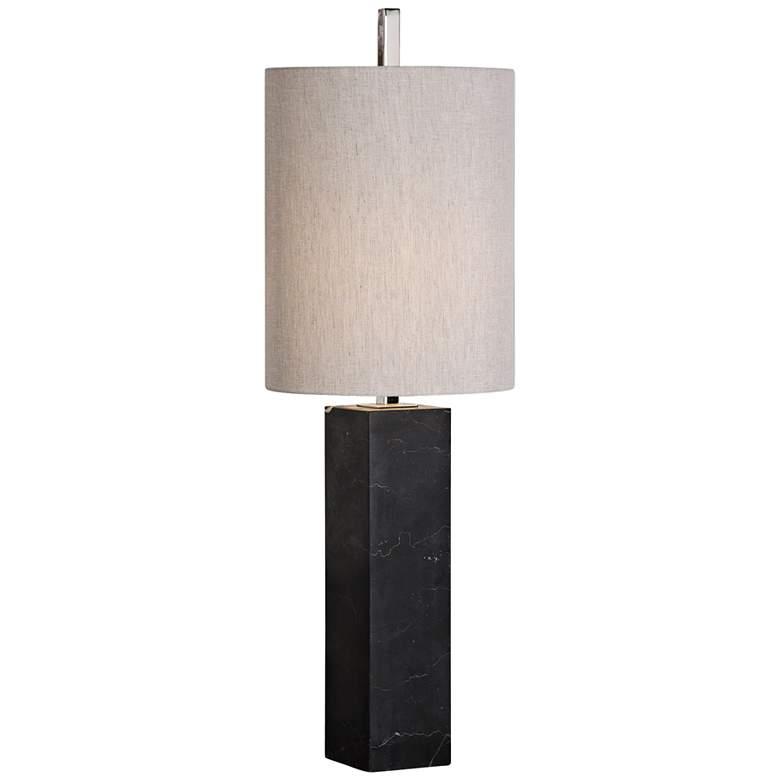 Uttermost Delaney Black Marble Square Column Table Lamp