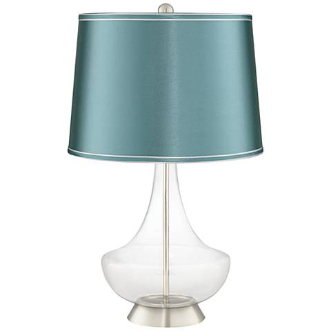 Clear Fillable Glass Teal Satin Shade Gillan Table Lamp