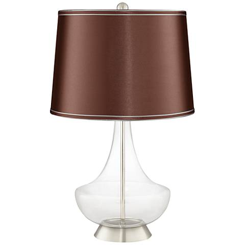 Clear Fillable Glass Soft Brown Satin Gillan Table Lamp