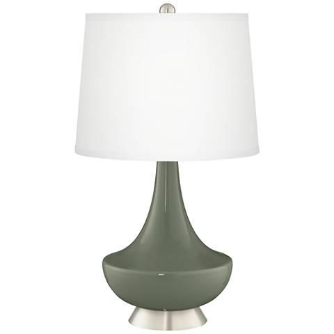 Deep Lichen Green Gillan Glass Table Lamp