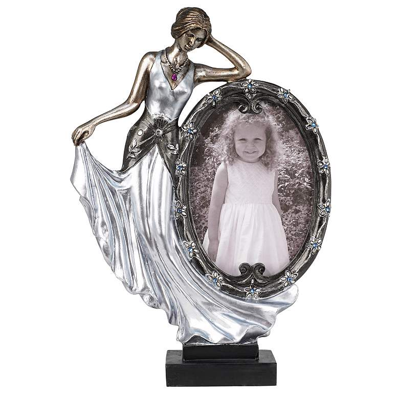"Glamour 10 3/4"" High Art Deco Figurine Picture Frame"
