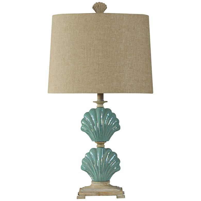 Delphina Gili Beach Blue-Green Seashell Table Lamp