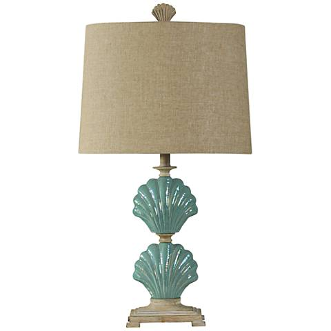 Delphina Gili Beach Blue-Green Seashell Table Lamp