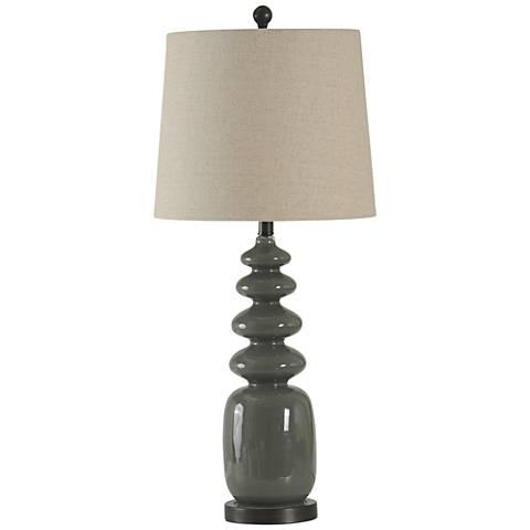 Vaz Fossil Glossy Gray Modern Table Lamp