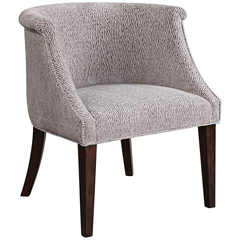 Uttermost Arthure Pewter Fabric Barrel Back Accent Chair