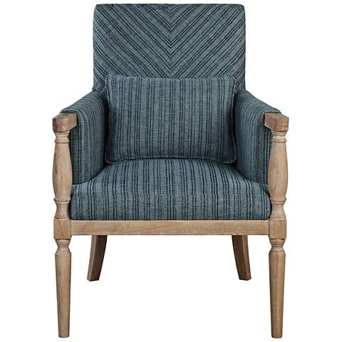 Uttermost Seamore Blue and Aqua Pattern Accent Armchair