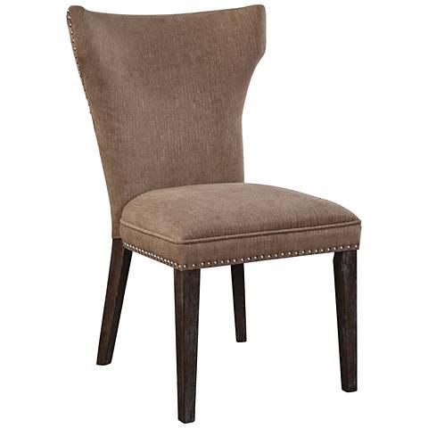 Uttermost Aaronus Driftwood Neutral Fabric Accent Chair