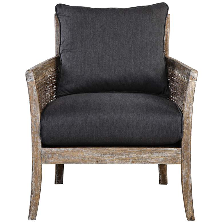 Uttermost Encore Dark Gray Fabric and Wood Accent Armchair