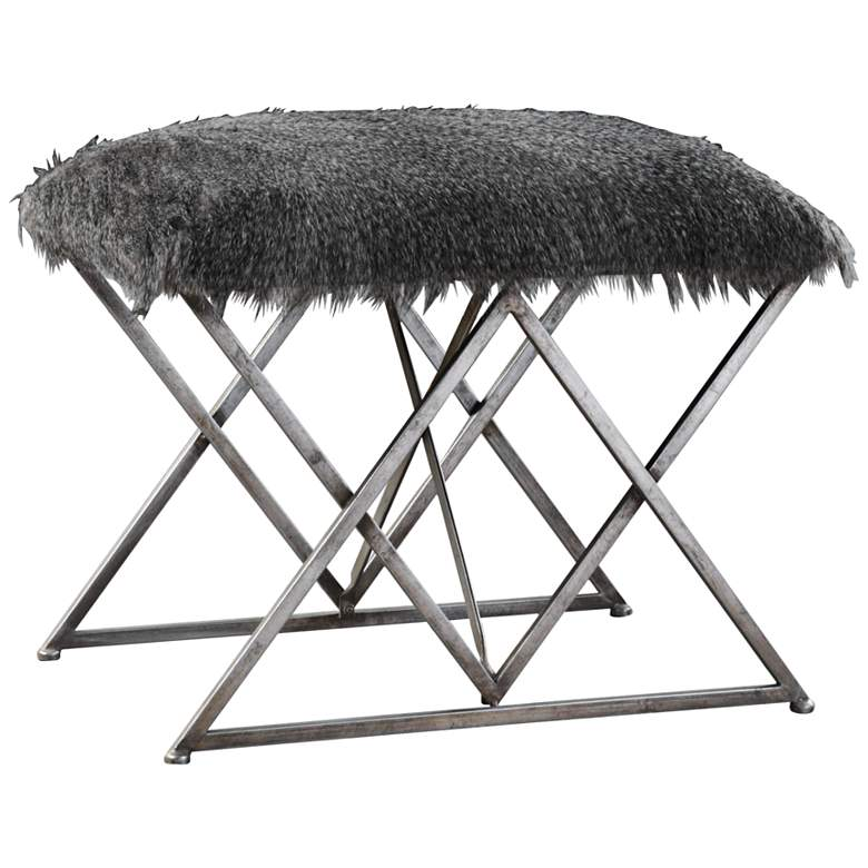 Uttermost Astairess Multi-Hued Brown Faux Fur Small Bench