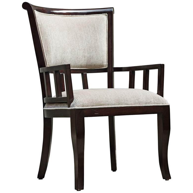 Uttermost Orlin Plush Putty and Mahogany Accent Armchair