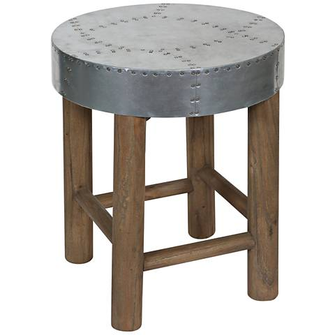 "Uttermost Jace 15"" Light Walnut and Aluminum Accent Stool"