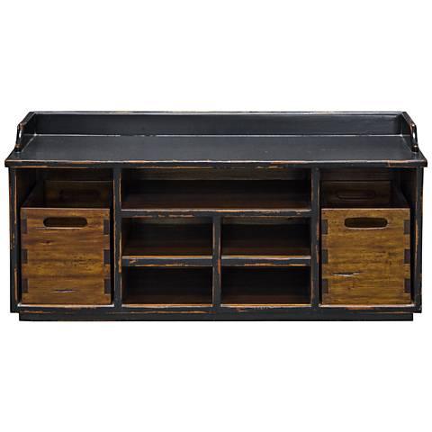 Uttermost Ardusin Worn Black and Honey Wood Hobby Bench