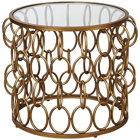 Uttermost Dipali Glass Top Antiqued Gold Leaf Accent Table
