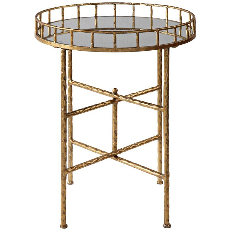 """Tilly 19 1/2"""" Wide Mirrored Bright Gold Leaf Accent Table"""