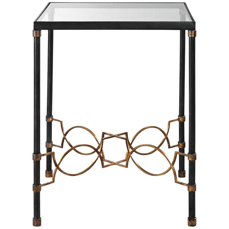"""Josie 18 1/4"""" Wide Black and Gold Leaf Glass Accent Table"""