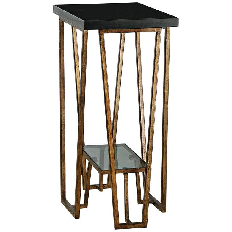 "Agnes 16"" Wide Black Granite and Gold Leaf Accent Table"