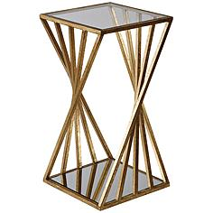 """Janina 13"""" Wide Clear Glass Top Gold Leaf Accent Table"""