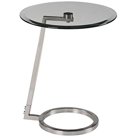 Uttermost Ordino Glass Top Brushed Nickel Accent Table