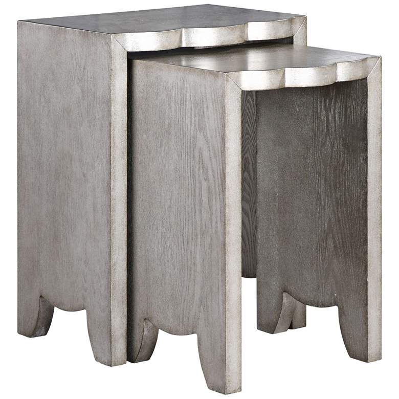 """Imala 18"""" Wide Burnished Silver Nesting Tables - 2-Piece Set"""