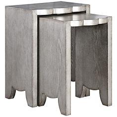 Uttermost Imala Burnished Silver 2-Piece Nesting Table Set