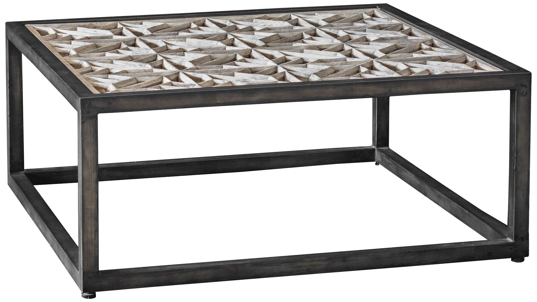 Wonderful Uttermost Baruti Metal And Aged White Wood Coffee Table