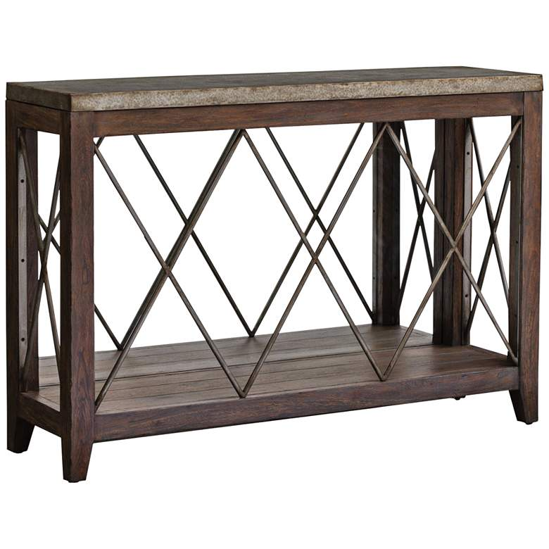 "Delancey 50"" Wide Weathered Oak Console Table by"