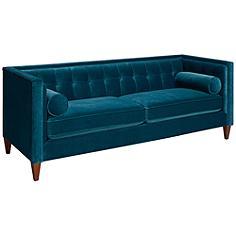 Jennifer Taylor Jack Legion Blue Velvet Tuxedo Sofa
